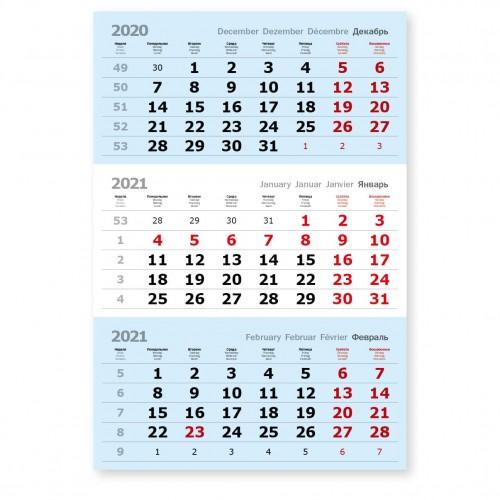 Календарные блоки голубые нерезаные, красные субботы, офсет, 50 комплектов