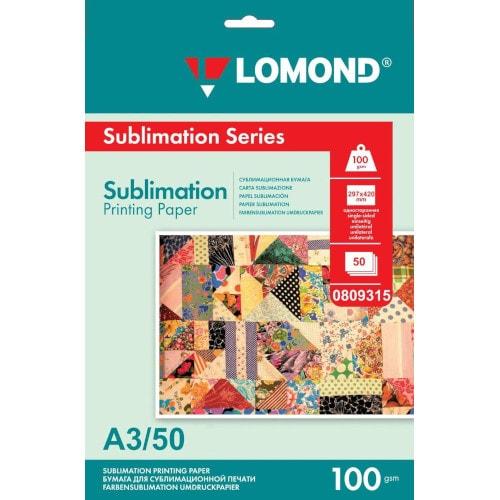 Бумага для сублимации LOMOND 0809315, 100 г/кв.м, А3, 50 л