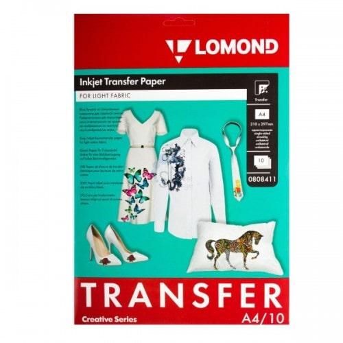Бумага термотрансферная Lomond 0808411 А4 для светлых тканей, 10 л