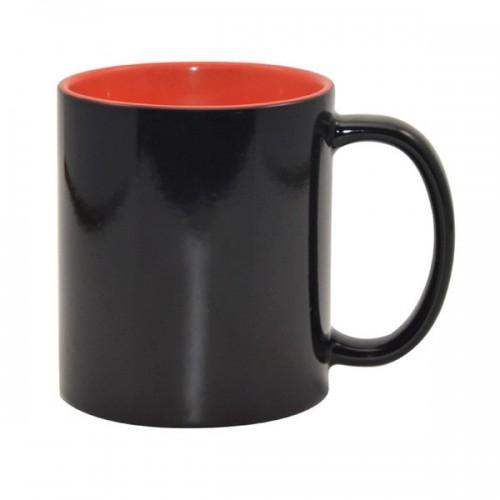 Кружка для термопереноса Color черный-хамелеон, оранжевая внутри