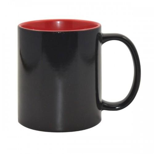 Кружка для термопереноса Color черный-хамелеон, красная внутри