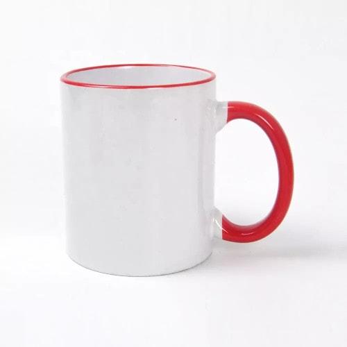 Кружка для сублимации белая, красный ободок и ручка
