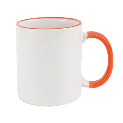 Кружка сублимационная белая с оранжевым ободком и ручкой