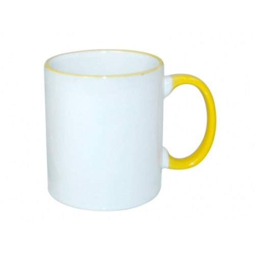 Кружка для сублимации белая, ободок и ручка желтые