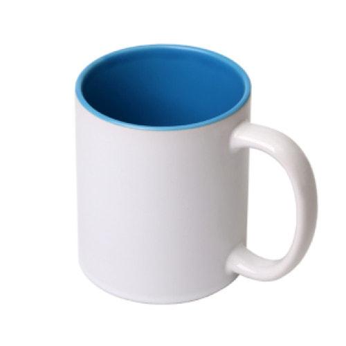 Кружка сублимационная белая, голубая внутри