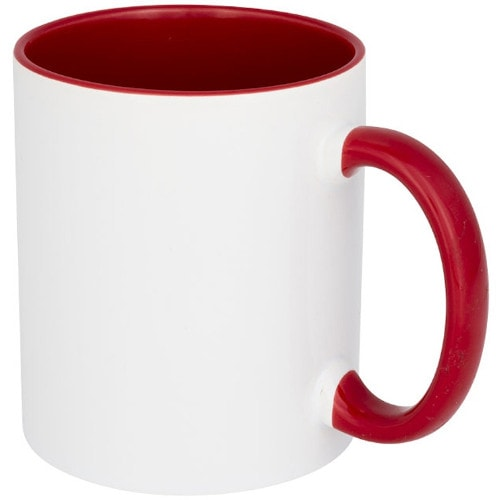 Кружка сублимационная белая, внутри и ручка красная