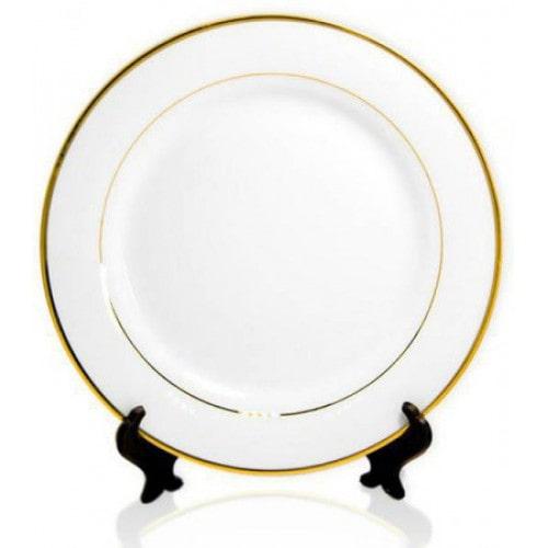 Тарелка для сублимации белая с золотым ободком, 20 см
