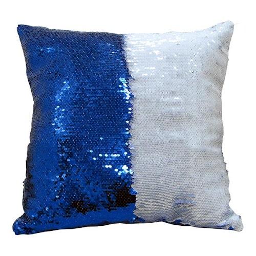 Подушка с пайетками 40х40, синяя