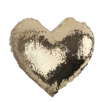 Подушка с пайетками, сердце, оборот черный