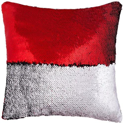 Подушка с пайетками 40х40, красная