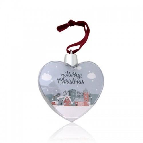 Шар-сердце елочный под полиграфическую вставку, пластик, прозрачный, 85х85х25 мм