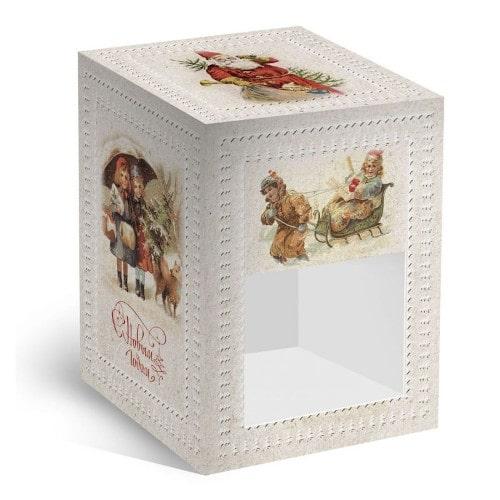Коробка подарочная под елочный шар Новогодний винтаж