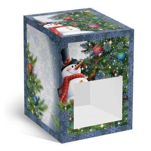 Коробка подарочная под елочный шар Снеговик