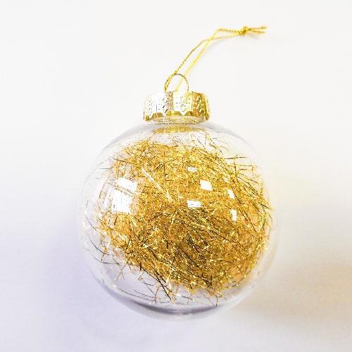 Шар елочный под полиграфическую вставку, пластик, d 80 мм, золотой наполнитель