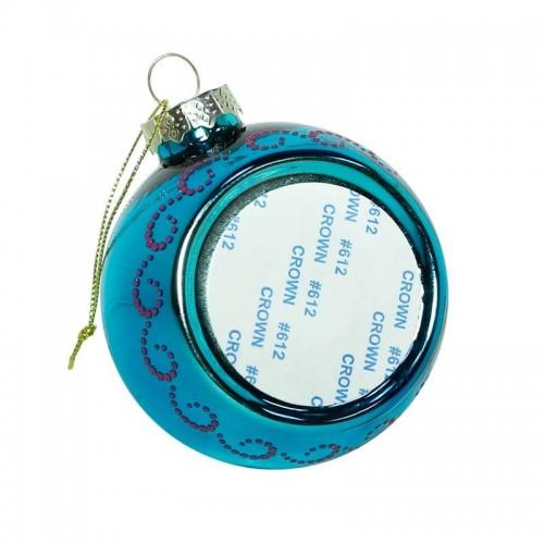 Шар елочный под полиграфическую вставку Узор, голубой, стекло, 80 мм