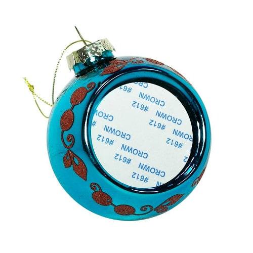 Шар елочный под полиграфическую вставку Узор Веточка, голубой, стекло, 80 мм