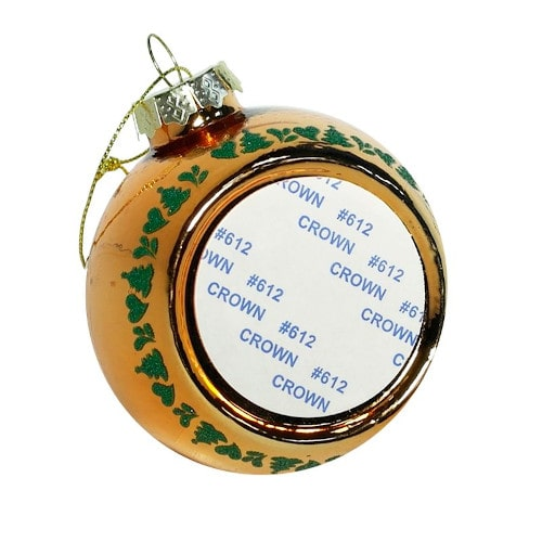 Шар елочный под полиграфическую вставку Морозный узор, стекло, оранжевый, 80 мм
