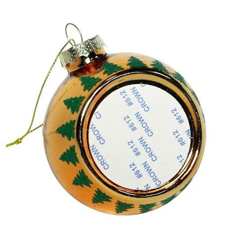Шар елочный под полиграфическую вставку Олень и Сани, стекло, оранжевый, 80 мм