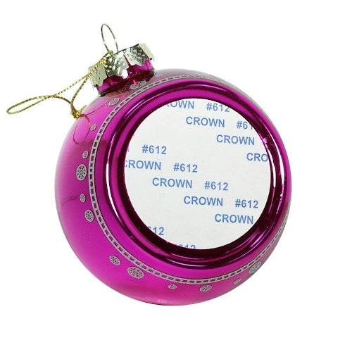 Шар елочный под полиграфическую вставку Ангел, стекло, розовый, 80 мм