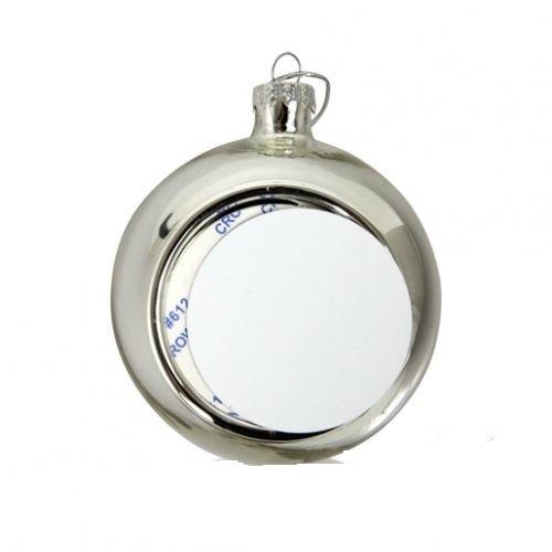Шар елочный под полиграфическую вставку, стекло, серебро d 80, вставка d 51
