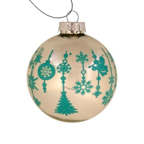 Шар елочный под полиграфическую вставку Новогодний узор, стекло, серебро, 80 мм
