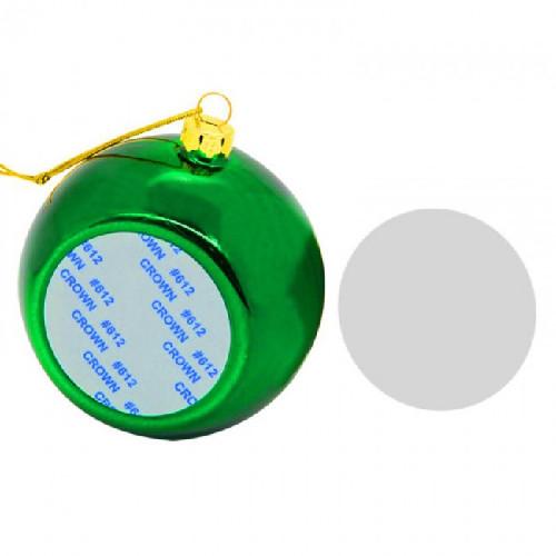 Шар елочный под полиграфическую вставку, стекло, зеленый d 80, вставка d 51