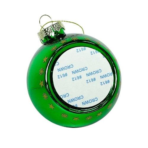 Шар елочный под полиграфическую вставку Ёлка, стекло, зеленый, 80 мм