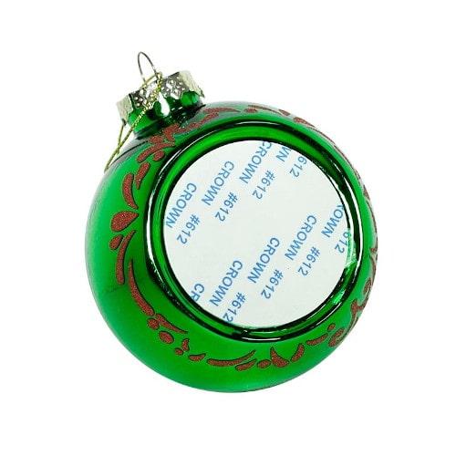Шар елочный под полиграфическую вставку Счастливого Нового Года, стекло, зеленый, 80 мм