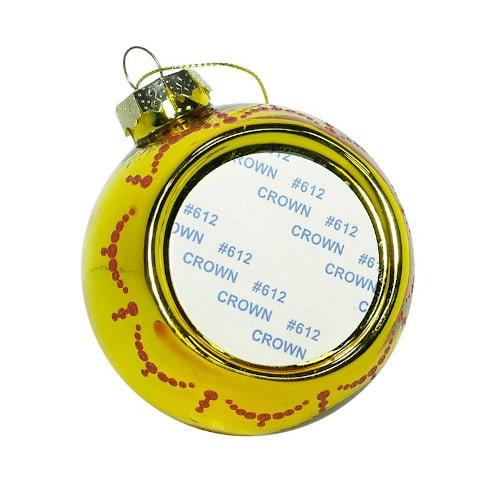 Шар елочный под полиграфическую вставку Бусинки, стекло, золото, 80 мм