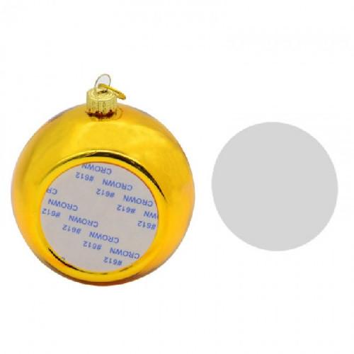 Шар елочный под полиграфическую вставку, стекло, золото d 80, вставка d 51