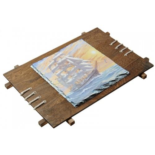 Фотокамень 18*26 см с деревянной рамкой для сублимации