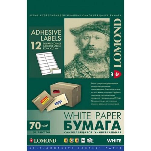 Бумага Lomond самоклеющаяся А4 12делений, 70 г/м2, универсальная (2100075)