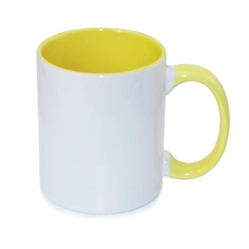 Кружка для сублимации белая, внутри и ручка желтая