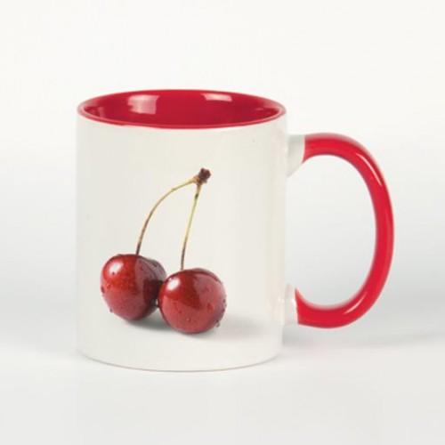 Кружка для сублимации белая, внутри и ручка(красная)