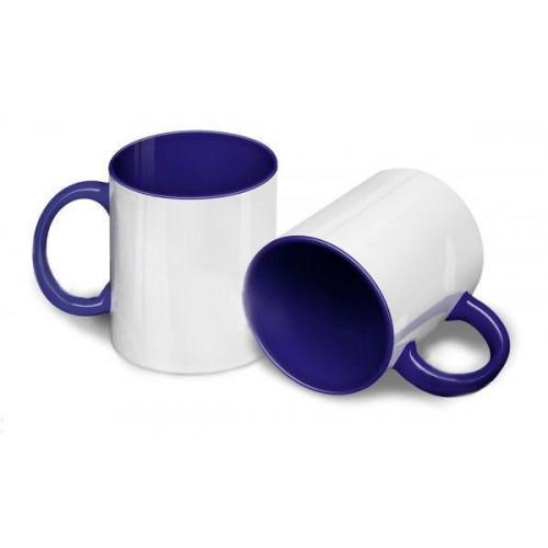 Кружка для сублимации белая, внутри и ручка синяя