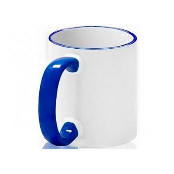 Кружка с цветным ободком и ручкой (синяя)