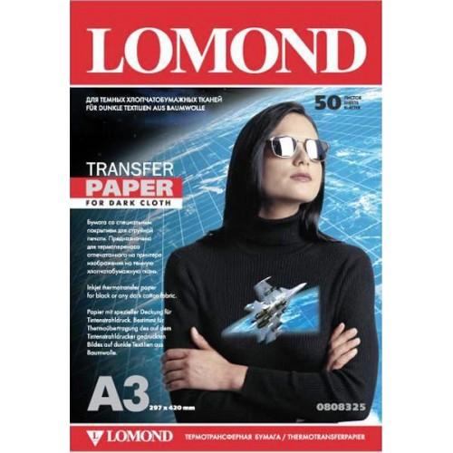 Бумага Lomond 0808325 термотрансферная для струйного принтера для темных тканей, А3, 50 листов
