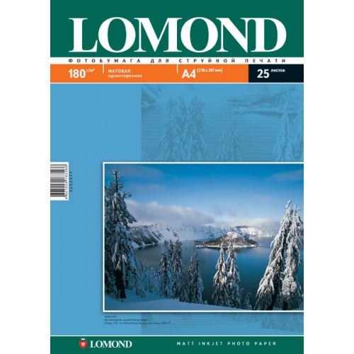 Бумага Lomond А4 односторонняя матовая  (180гр/А4/25л/МАТТ)
