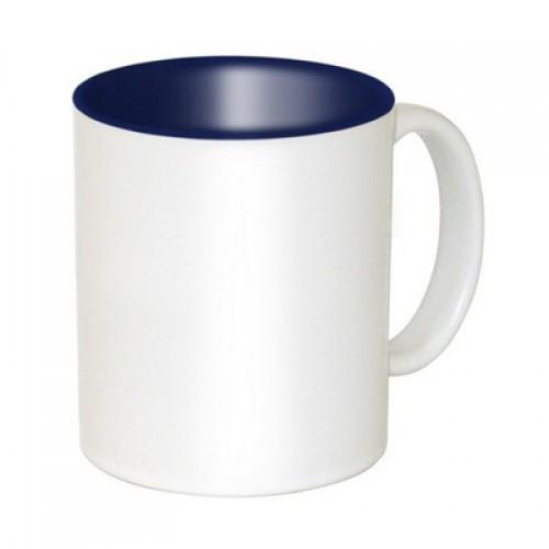 Кружка для сублимации белая, синяя внутри