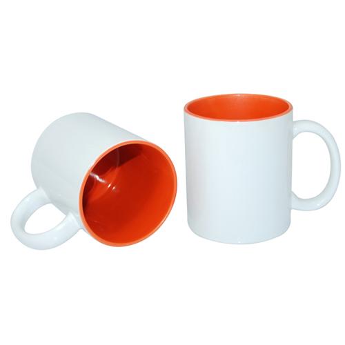 Кружка для сублимации белая, оранжевая внутри