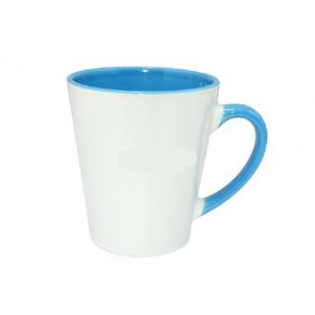 Кружка для сублимации конусная белая, внутри и ручка(голубая)