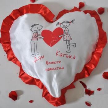 """Подушка для сублимации """"Сердце"""" с рюшей (25х25)"""