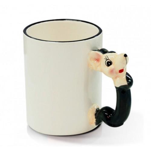 Кружка для сублимации белая с ручкой в форме животного, Мышь