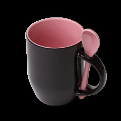 Кружка Color  для термопереноса, розовая -хамелеон с ложкой