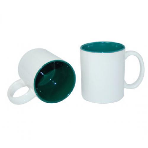 Кружка для сублимации белая, зеленая внутри