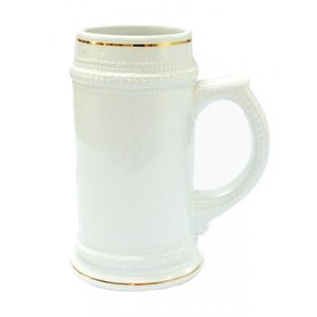 Кружка для сублимации пивная с золотым ободком