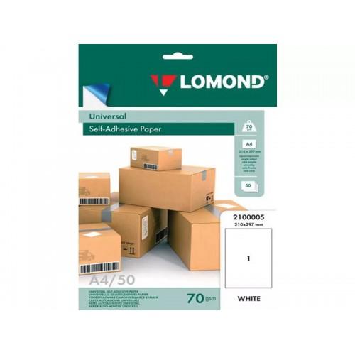 Бумага Lomond самоклеющаяся, фА4, неделённая, 70 г/м2.