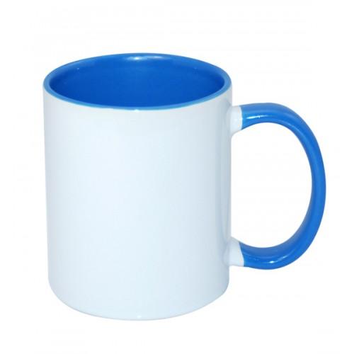 Кружка для сублимации белая, внутри и ручка голубая