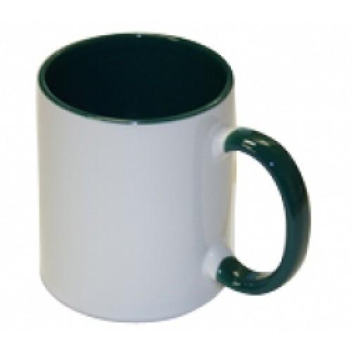 Кружка для сублимации белая, внутри и ручка(зеленая)