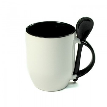 Кружка для сублимации с ложкой белая, внутри и ручка(черная)